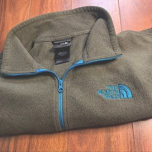 THE NORTH FACE DARK GREEN & BLUE CROPPED SWEATER